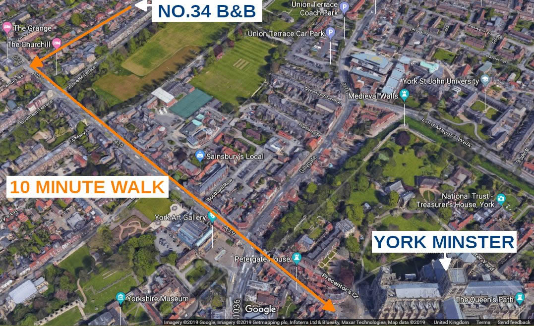 Location of Number 34 B&B in York